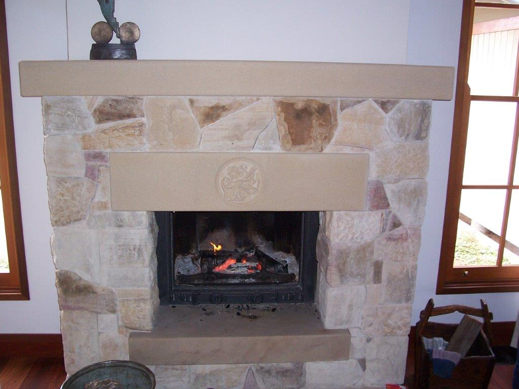rubble fireplace
